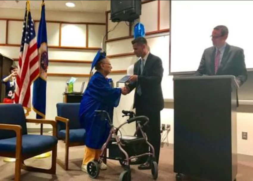 88-year-old holocaust victim gets high school diploma. She was overjoyed after a teacher helped her