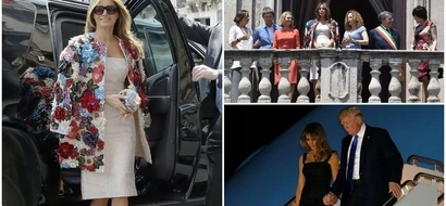 Melania Trump's Ksh5.1 MILLION floral coat grabs attention as she steps out in sunny Sicily (photos, video)