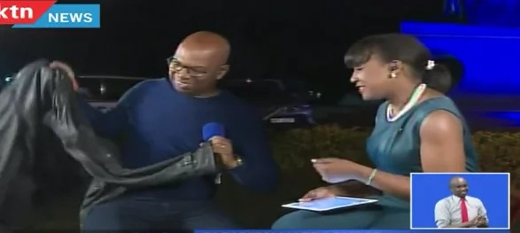 Bob Collymore covers Betty Kyalo with his jacket in a cold night (photos)