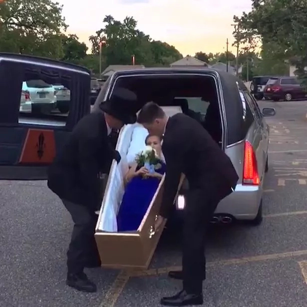Teenage girl shows up for prom in coffin