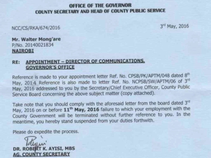 Kidero fires Nyambane from city hall, gets replacement