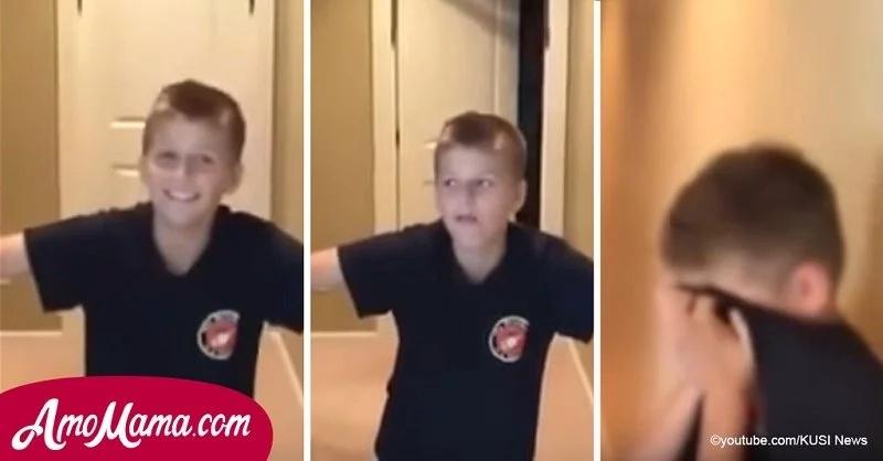 Un chico no podía entender por qué su papá lo estaba filmando, pero luego la puerta se abrió y...
