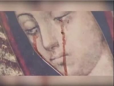 Imagen de la Virgen María llora lágrimas de sangre en Durango