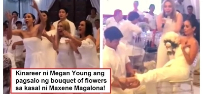 Siya ang next ikakasal? Megan Young goes the extra mile to catch the bouquet of flowers at Maxene Magalona's wedding reception