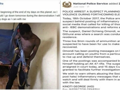Police corner Kenyan who posed with a gun threatening to kill people during NASA demos