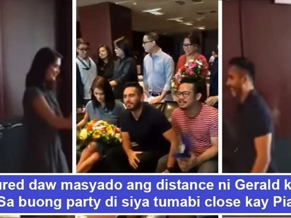 Na 'awkward' daw sila sa isa't isa? Netizens pinpoint Gerald Anderson's 'awkwardness' towards Pia Wurtzbach during thanksgiving party