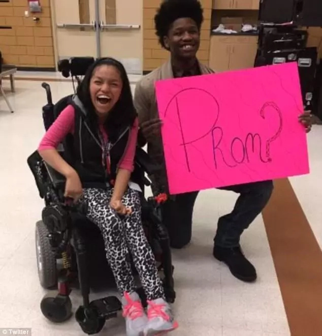 Heartwarming moment as football star, 18, takes his disabled friend to prom (photos, video)