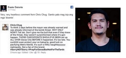 Baste's fb page BASHES Chug for insensitive post about Davao bombings