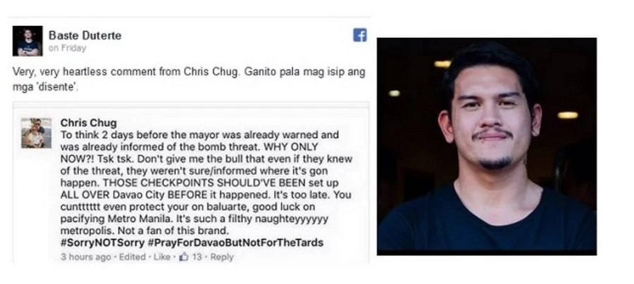 """""""Baste"""" lashes out on insensitive post about Davao bombings"""