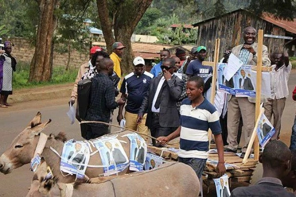 Politician presents his papers to IEBC on a DONKEY