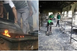 More than 100 students left in the cold after fierce fire burn dormitory