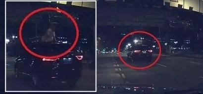 Taxista se sorprendió al ver a una mujer en el techo de un vehículo en movimiento