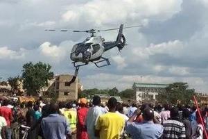 Photos: Man narrowly escapes death after falling off chopper carrying Jacob Juma
