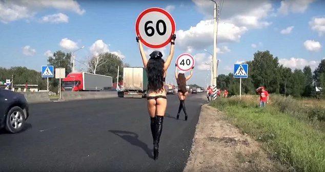 Topless women start boobs-road-safety campaign in Russia