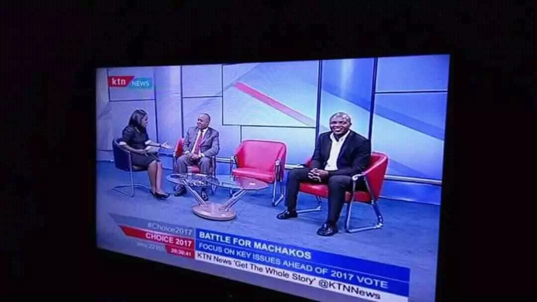 Machakos Governor, Alfred Mutua walks out of a KTN interview