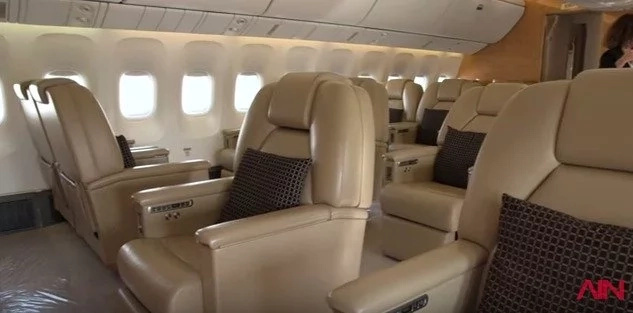 The jet has plenty of space for entourage and staff