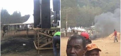 NASA and Jubilee supporters clash after Raila's podium was set on fire in Meru
