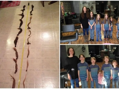 Mom and 6 kids cut their hair and donate it to kids in need in heartwarming gesture (photos, video)