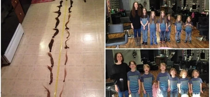 Heartwarming! Mom and 6 kids cut their hair and donate it to kids in need (photos, video)