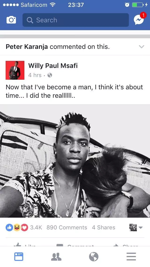 Willy Paul cuddling an unknown woman