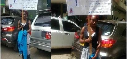 Kenyan single mum of three takes to the street looking for mzungu husband (photos)