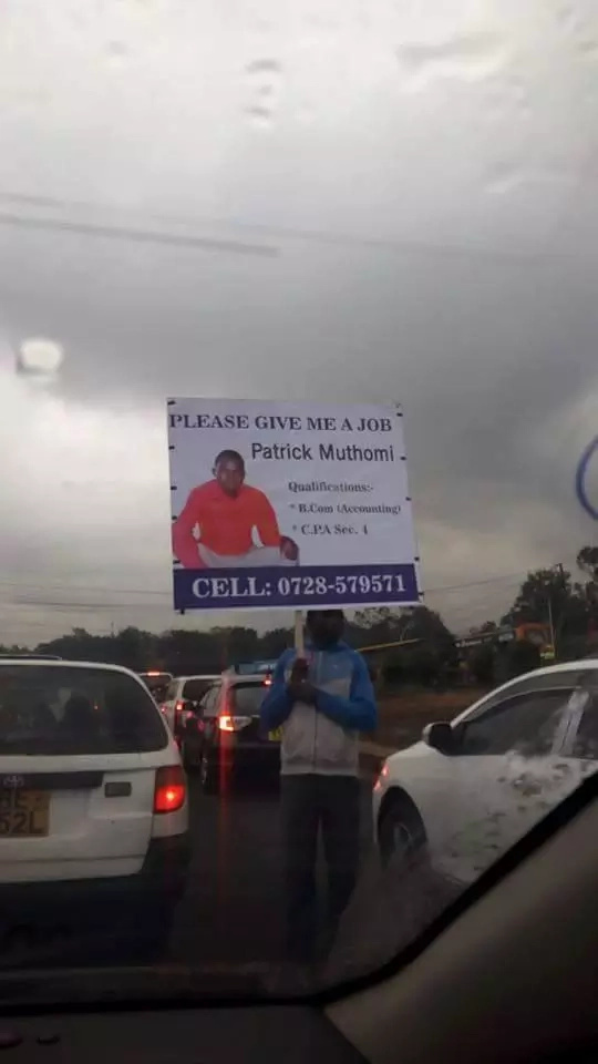 Nairobi man takes to streets with billboard to look for a job