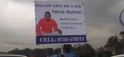 Unique job-hunting strategy of Nairobi man with billboard on the roads (photos)