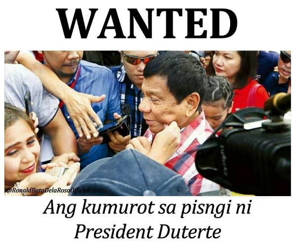 "Bato posts ""WANTED"" poster for person who pinched Duterte's cheeks"