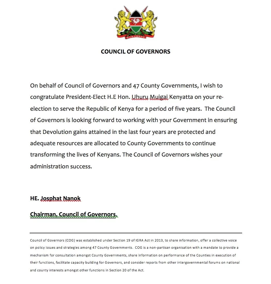 All 47 governors congratulate Uhuru after Supreme Court win, commit to work with him