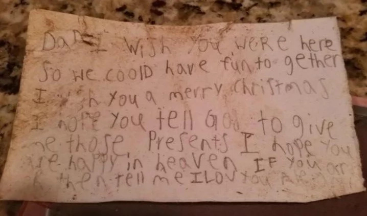 "Mum finds heartbreaking note from grieving little boy to daddy in ""heaven"""