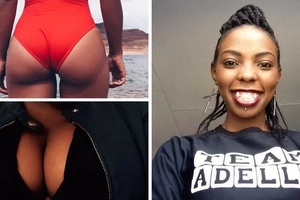 Kiss FM's Adelle Onyango steps out of the house wearing nothing but flimsy tights and a bra (photos)