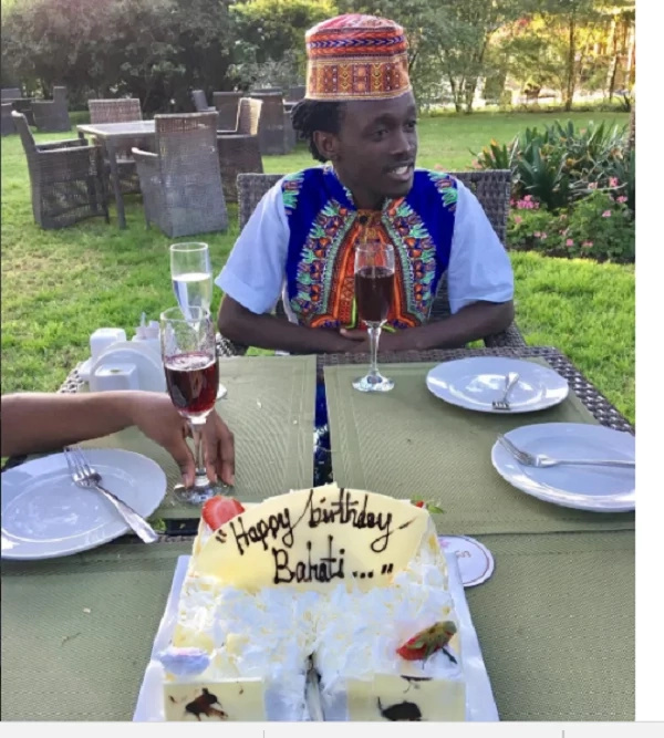 A rare photo of singer Bahati taking a strange drink on his birthday