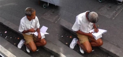 Poor old man in elementary school uniform studying at the roadside teaches netizens the value of education