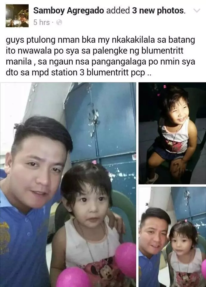 Policeman looks for missing child's parents through Facebook