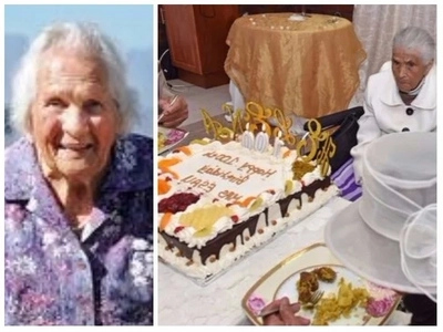 A community surprises great-grandma with a 1mx1.5m cake on her 100th birthday