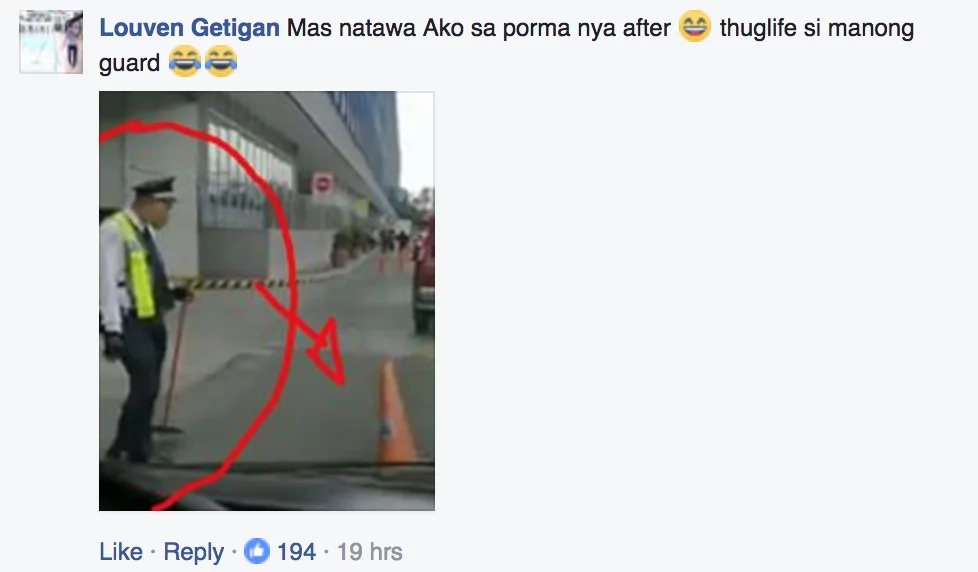 Netizen captures security guard flipping a cone with precision