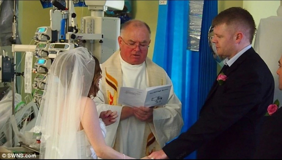 Couple grants terminally ill son's wish by getting married in his hospital room