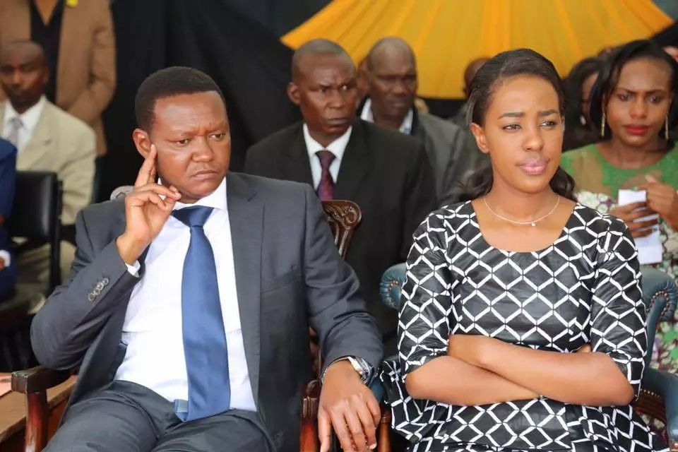 Heart-breaking photos of Governor Alfred Mutua's wife during her bodyguard's burial