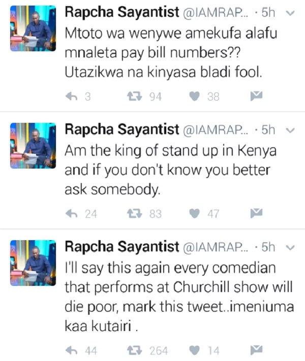 Comedian ATTACKS CHURCHILL days after Ayeiya's burial