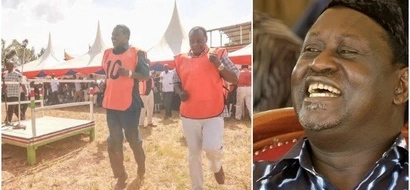 Football in politics: Raila Odinga EXCITES Vihiga fans by playing football(PHOTOS)