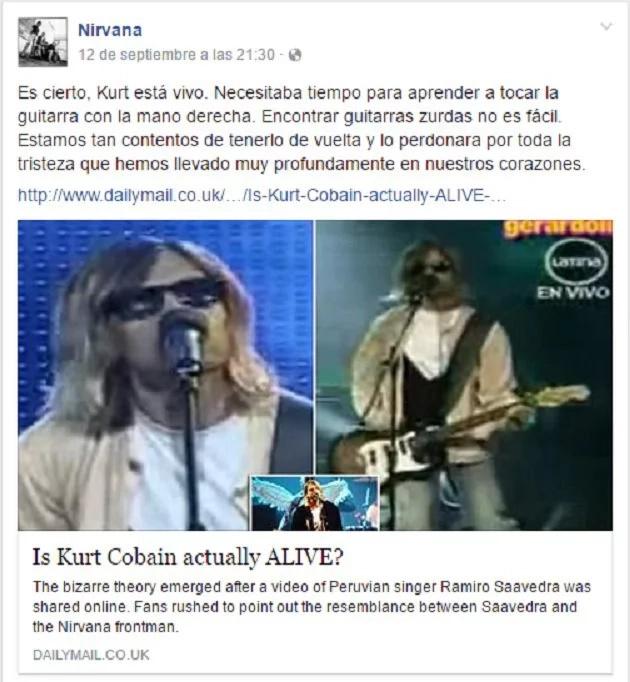Nirvana afirmó que Kurt Cobain reencarnó y está en Perú