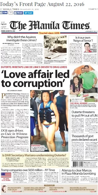 Newspaper front page photo shows De Lima in bikini
