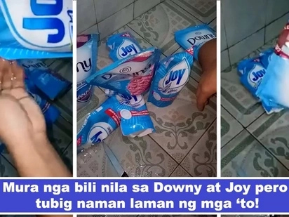 Aanhin ang mura kung tubig ang laman! Netizen warns public about cheap half-the-price Joy and Downy bought from sidewalk