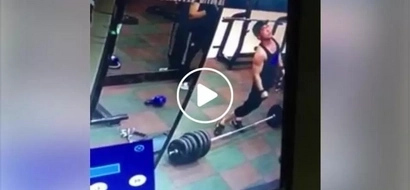 CCTV shows man collapsing like jelly after terribly snapping his spinal cord while lifting heavy barbell