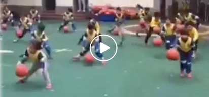 Stunning Chinese toddlers do impressive basketball dance moves