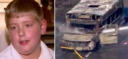 Bus escolar que transportaba niños se incendió, pero un astuto jovencito autista salvó el día