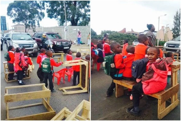 UNBELIEVABLE! Students not older than 5 take to the streets to stage protest over school building demolition (photos)