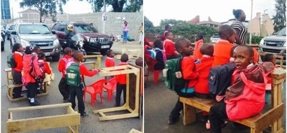 OUTRAGE as PUPILS protest using desks on busy highway (photos)