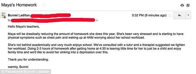 The email Bunmi sent to her daughter's school