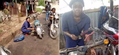 Pretty female mechanic who repairs motorcycles proves that what a man can do, a woman can also do